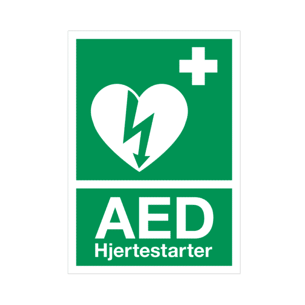 AED skilt – A4, hårdt hvid plast